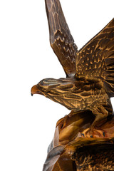 Eagle carved out of wood.
