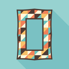 Vintage photo frame with colorful triangles.