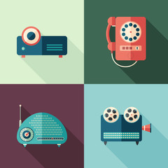 Set of vintage audio and video flat icons with long shadows.