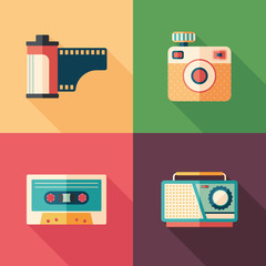 Set of vintage photo and audio flat icons with long shadows.
