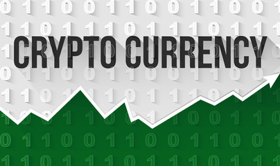 Crypto currency text banner on background in binary code style