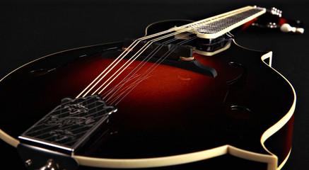 Mandolin isolated on black, detail