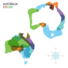 Abstract vector color map of Australia