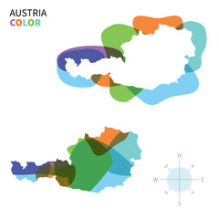 Abstract vector color map of Austria