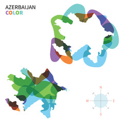Abstract vector color map of Azerbaijan