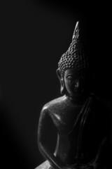 Low key light of Buddha statue.