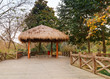 Wooden pathway and traditional Chinese gazebo