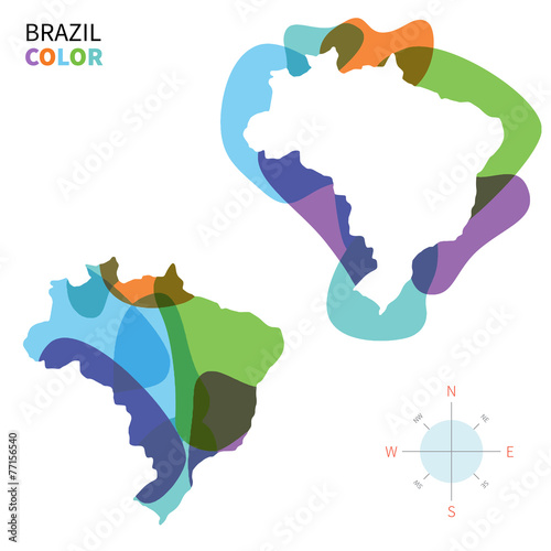 Fotobehang Vormen Abstract vector color map of Brazil