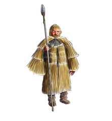Prehistoric man with a straw rain coat