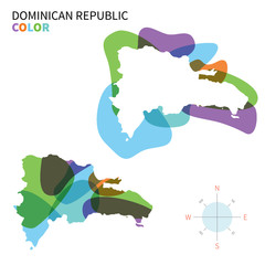 Abstract vector color map of Dominican Republic