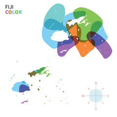 Abstract vector color map of Fiji