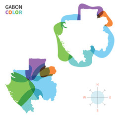 Abstract vector color map of Gabon