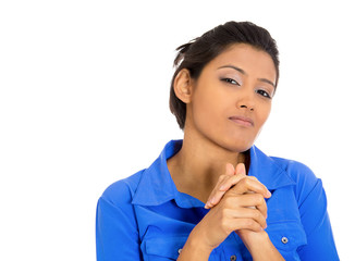 Headshot envy sly young woman plotting something