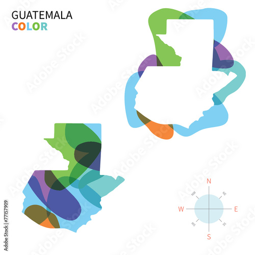 Papiers peints Forme Abstract vector color map of Guatemala