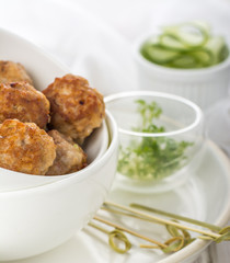 Minced meat ball in bowl
