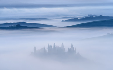 Mist in Tuscany Field, Italy