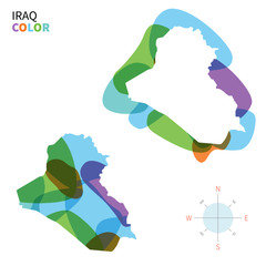 Abstract vector color map of Iraq