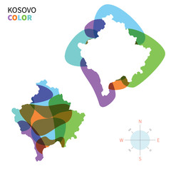 Abstract vector color map of Kosovo