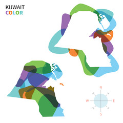Abstract vector color map of Kuwait