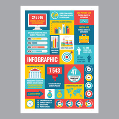 Business infographic - flat design poster . Vector icons set.