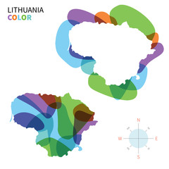 Abstract vector color map of Lithuania