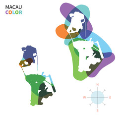 Abstract vector color map of Macau