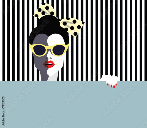 Beautiful young woman, retro style. Vector eps10 illustration - 77159905