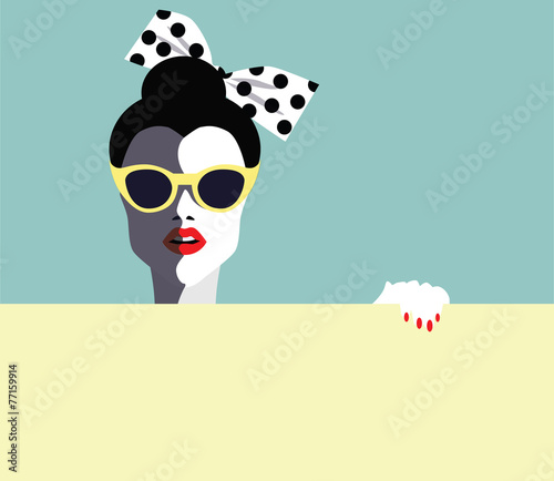 Beautiful young woman, retro style. Vector eps10 illustration - 77159914