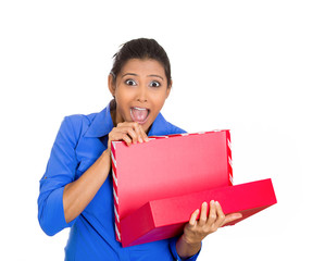 happy excited woman opening red gift box pleased with present