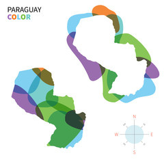 Abstract vector color map of Paraguay