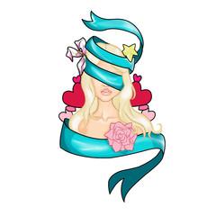 Ragazza bendata con capelli biondi