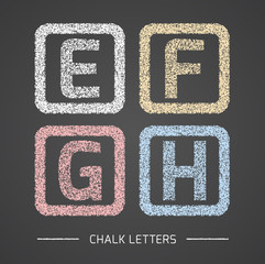 Chalk Alphabet in square frames collection.Letters E, F, G, H