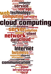 Cloud computing word cloud concept. Vector illustration