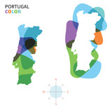 Abstract vector color map of Portugal