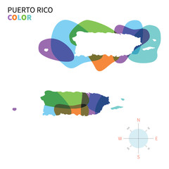 Abstract vector color map of Puerto Rico