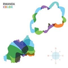 Abstract vector color map of Rwanda