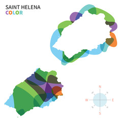 Abstract vector color map of Saint Helena
