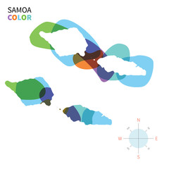 Abstract vector color map of Samoa