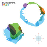 Abstract vector color map of Sierra Leone