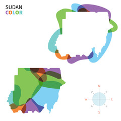 Abstract vector color map of Sudan