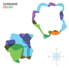 Abstract vector color map of Suriname