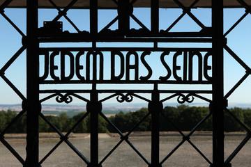 Nazi motto Jedem das Seine seen in the Buchenwald concentration