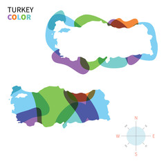 Abstract vector color map of Turkey