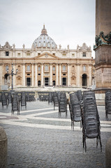 Preparation for the general audience in St Peter's square at the