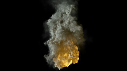 explosion isolated on black, ready for compositing, with alpha