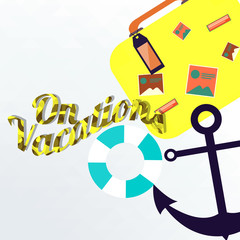 vacations illustration over color background