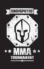 MMA tournament grunge dark emblem with spartan helmet, eps10