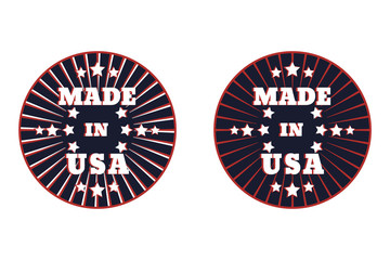Made in usa round emblem vector illustration, eps10