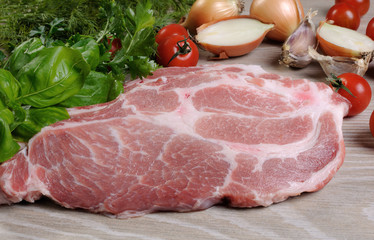 Slices of raw pork steak