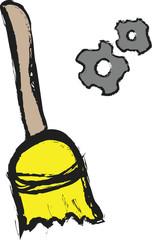 doodle broom and cogwheel gear mechanism  icon
